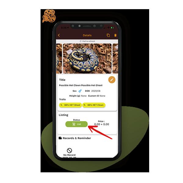 click list button to list reptile