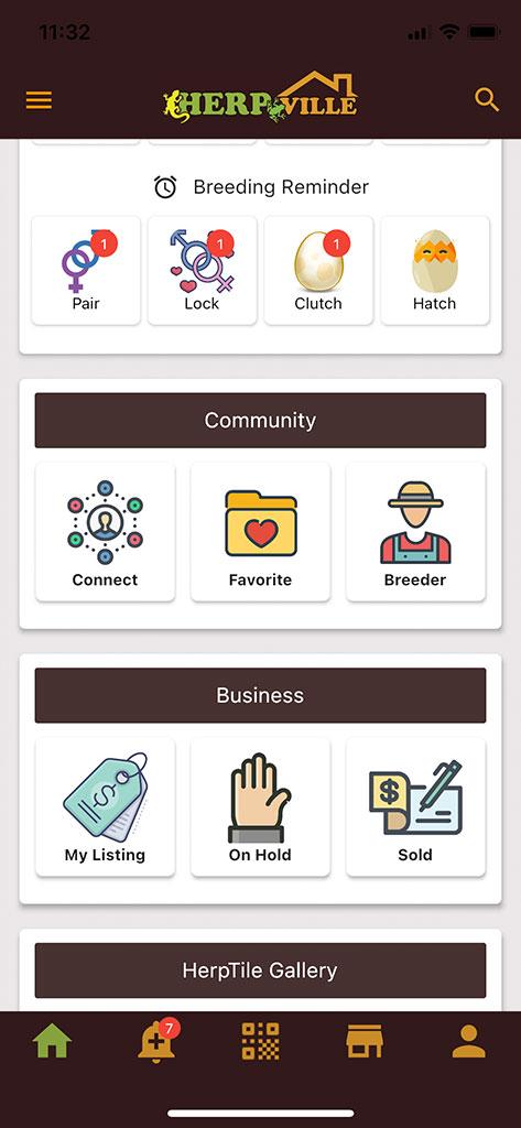Herpville app lower homepage july 2021