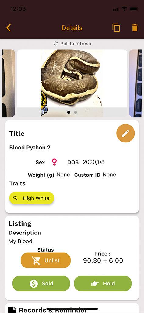 Hold and Sold Feature for Reptile Listing